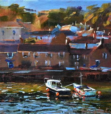Jeremy Sanders Original Oil Painting Boats At Mousehole Cornwall